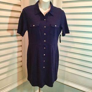 NWT, NY & Co Cotton Jersey Navy Shirt Dress, XL